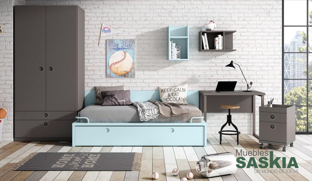 Dormitorio actual juvenil muebles saskia en pamplona for Actual muebles