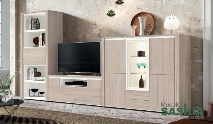 Muebles de salón moderno, composición en roble, Rosamor