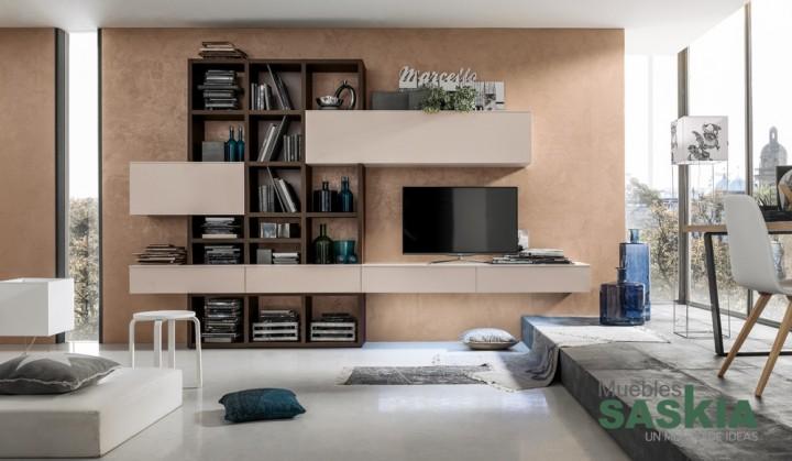 Muebles de sal n suspendidos muebles saskia en pamplona for Composicion de muebles de salon