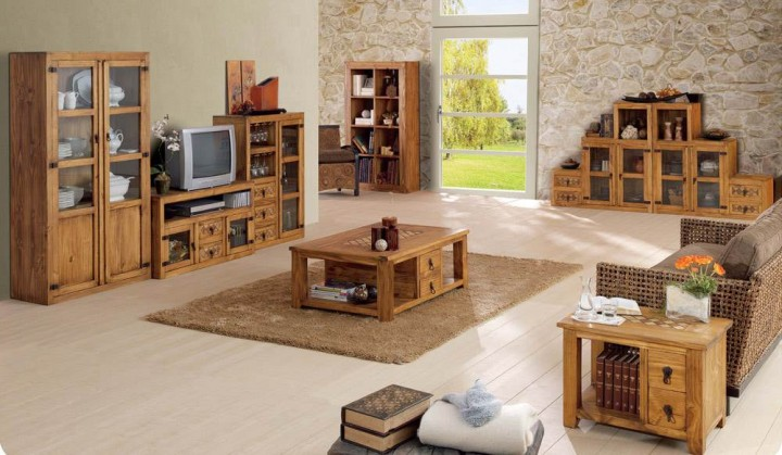 Sal n modular r stico 50 muebles saskia en pamplona for Muebles de bar rusticos