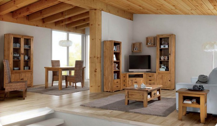 Sal n modular r stico 58 muebles saskia en pamplona - Muebles de salon modulares de madera ...