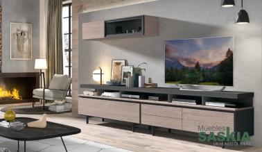 Composición de salón moderno, tonos cálidos