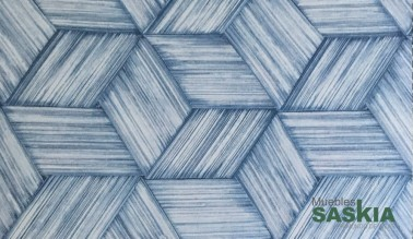 Papel pintado, rombos azules