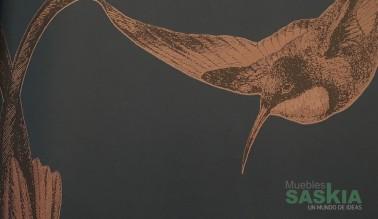 Papel pintado, pájaros rojos