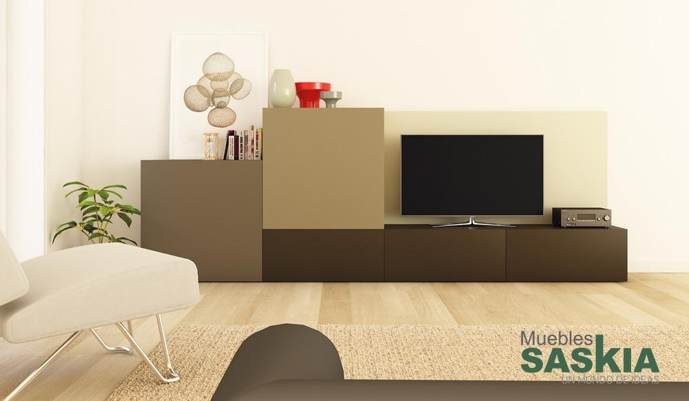 Mueble de sal n moderno decornouveau muebles saskia en for Muebles salon clasico moderno
