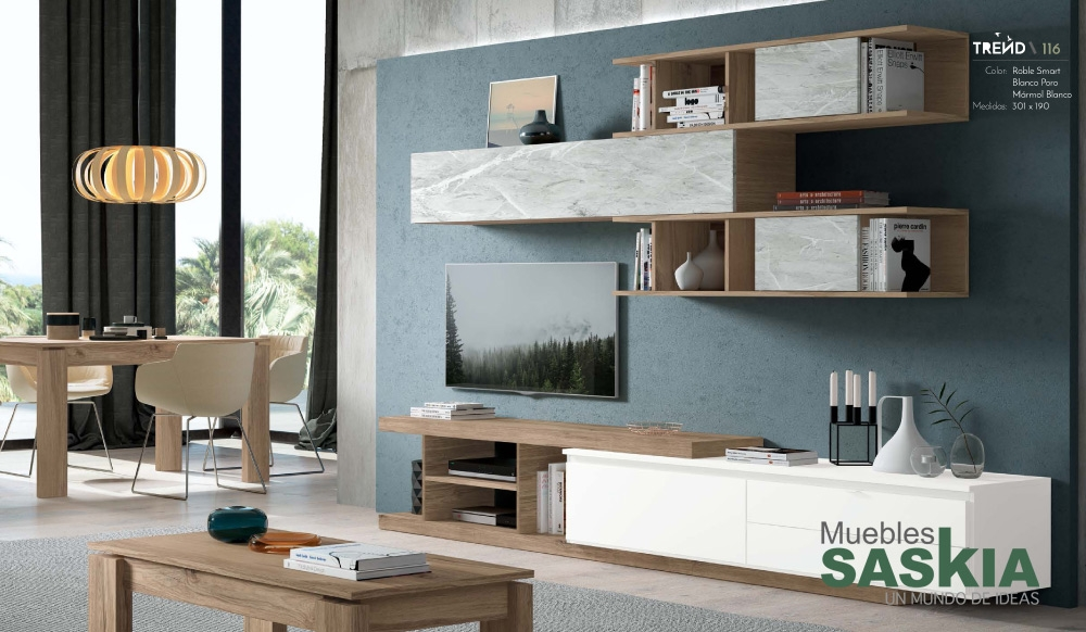 Muebles de salón moderno, conjunto rosamor 5, Rosamor