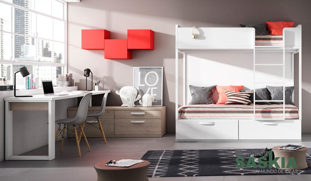 Dormitorio moderno con litera muebles saskia en pamplona - Dormitorios juveniles pamplona ...