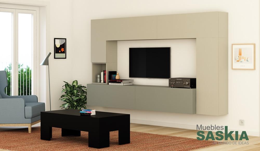 Ambientes de sal n moderno muebles saskia en pamplona for Composicion muebles salon modernos