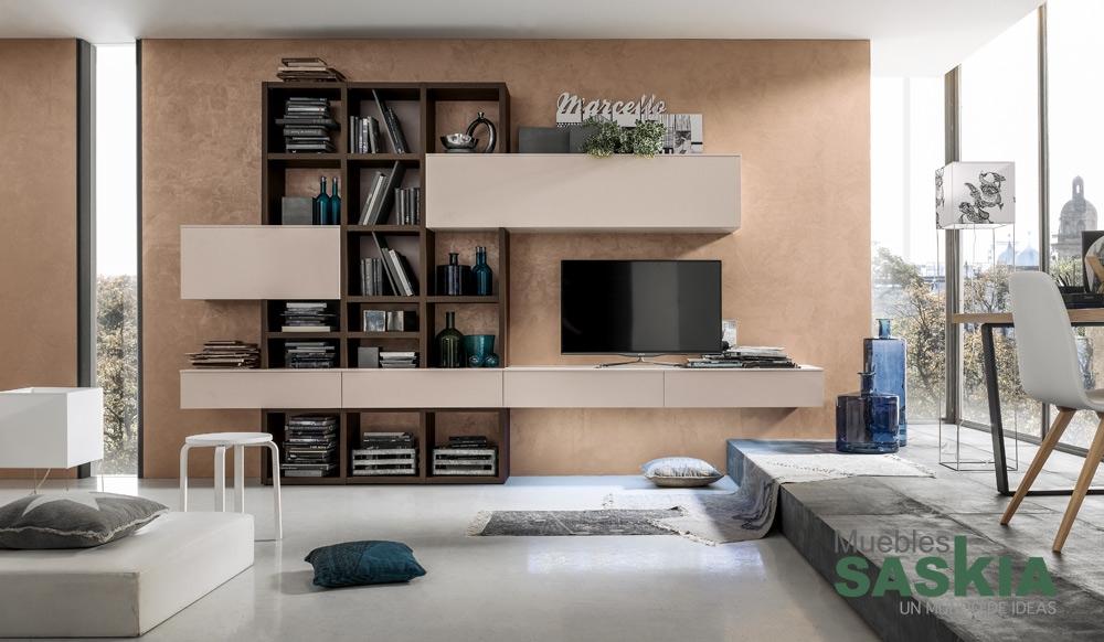 Muebles de sal n suspendidos muebles saskia en pamplona for Muebles compactos salon