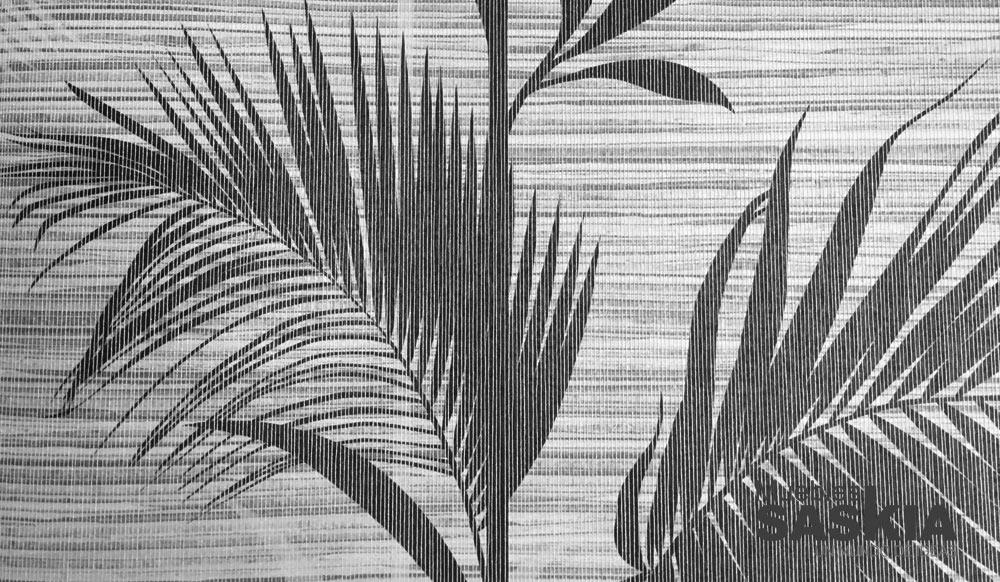 Papel pintado, palmera tonos grises