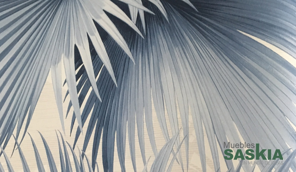 Papel pintado, palmeras azules