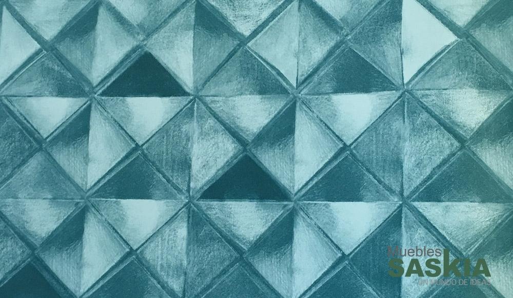 Papel pintado, rombos verdosos