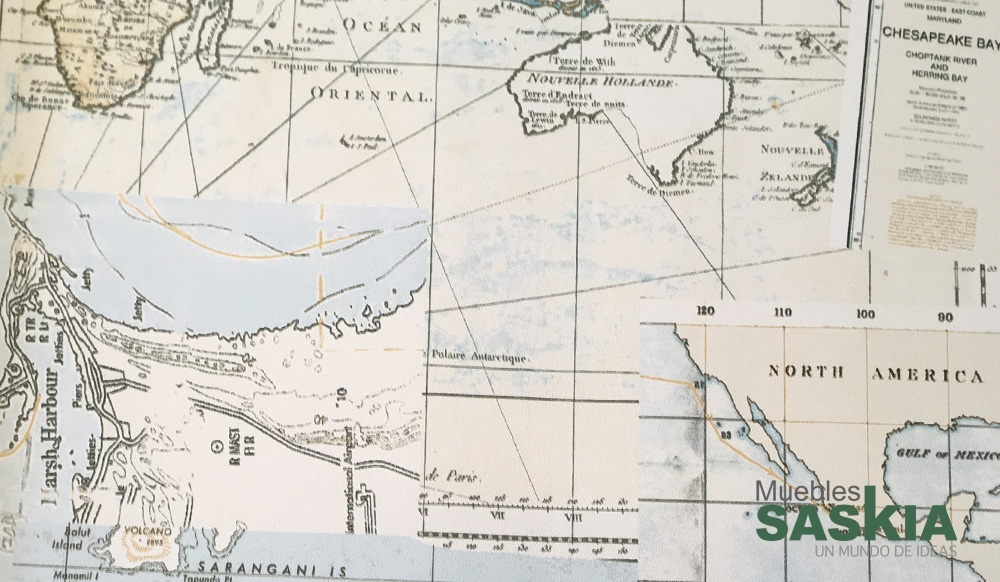 Papel para pared, diseño de mapa