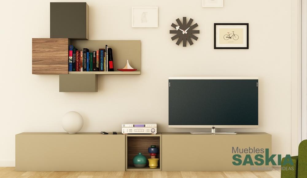 Conjunto de muebles de sal n moderno muebles saskia en for Muebles salon clasico moderno
