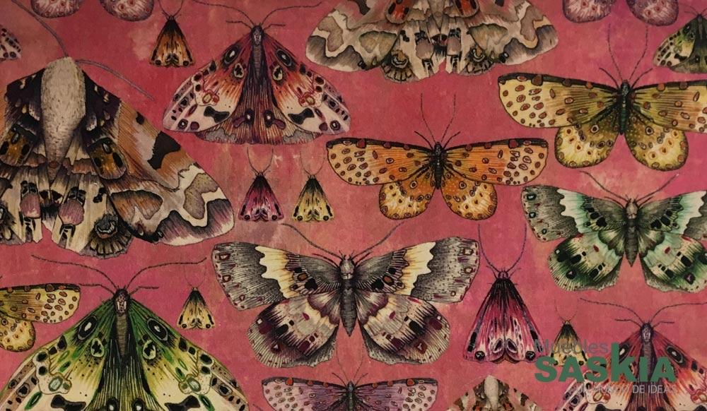 Tejido con motivo de mariposas