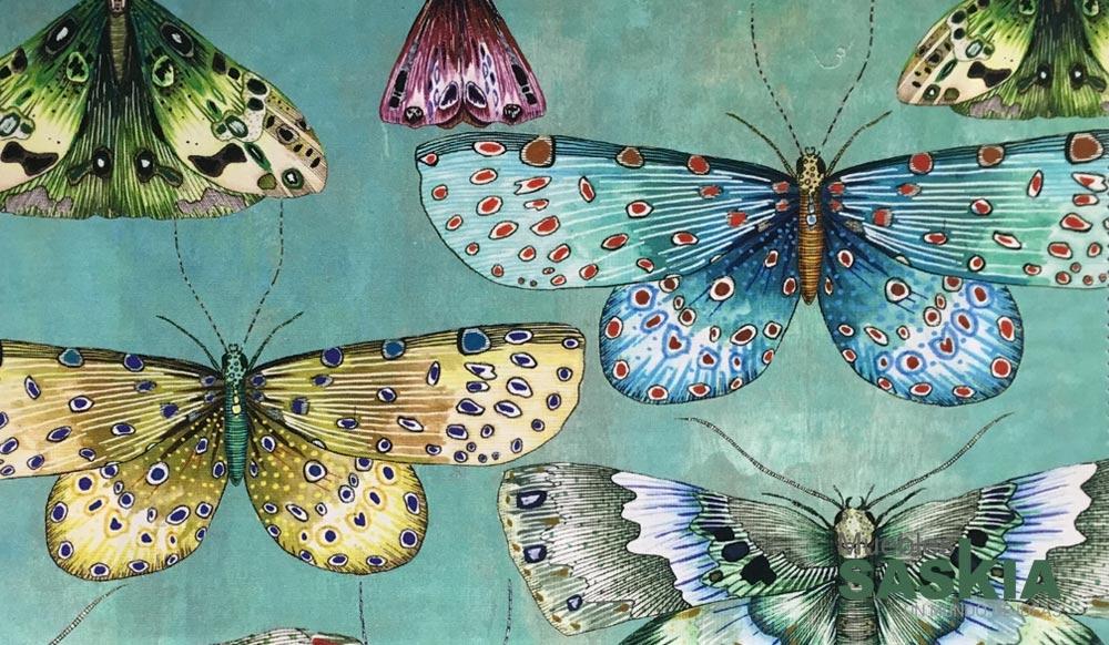 Elegante tela con motivo de mariposas