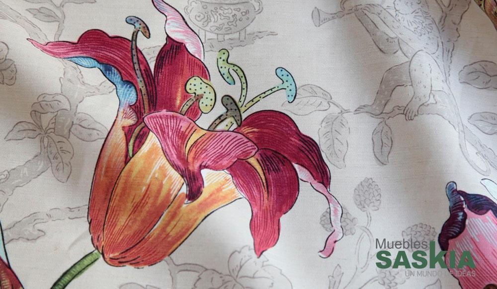 Elegante tela para tapizar, motivo florido