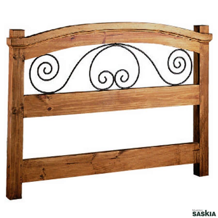 Cabecero colonial de madera maciza y hierro para cama de 90, juvenil