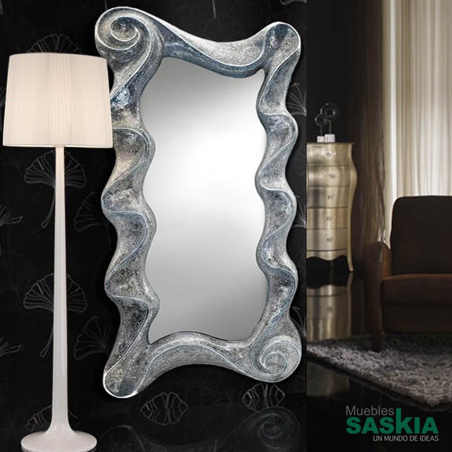 Espejo gaudi ondas plata
