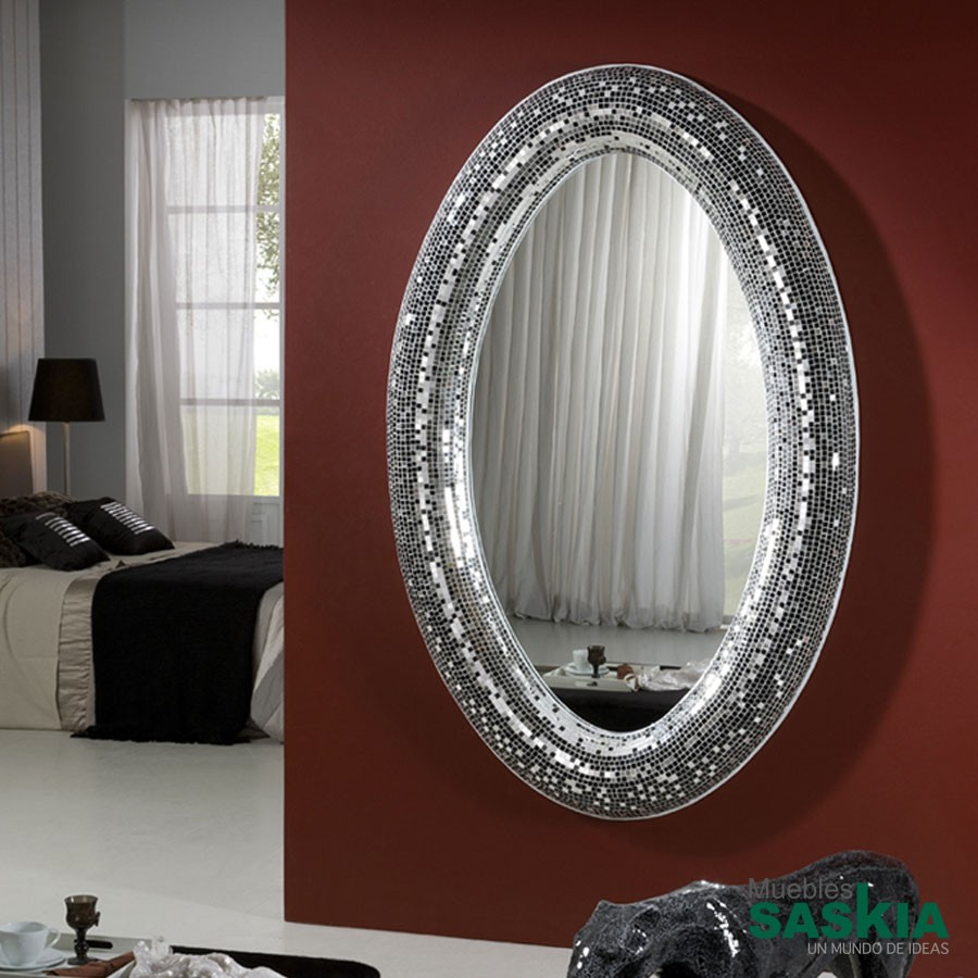 Espejo gaudi plata y negro