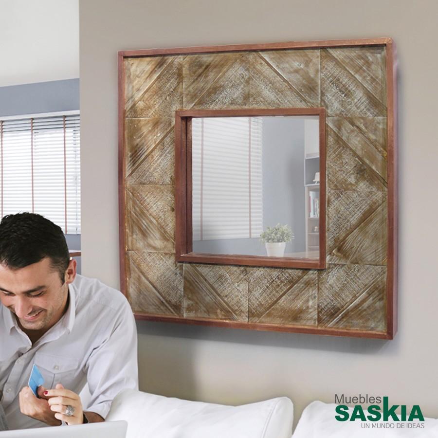 Espejo alpes cobre 80x80