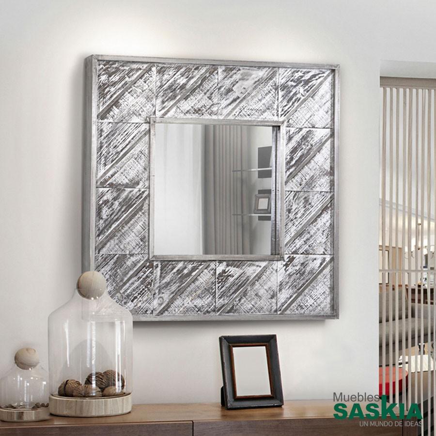 Espejo alpes plata 80x80