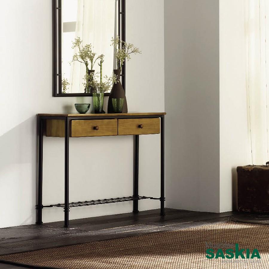 Consola Marsella con tapa y cajón de madera