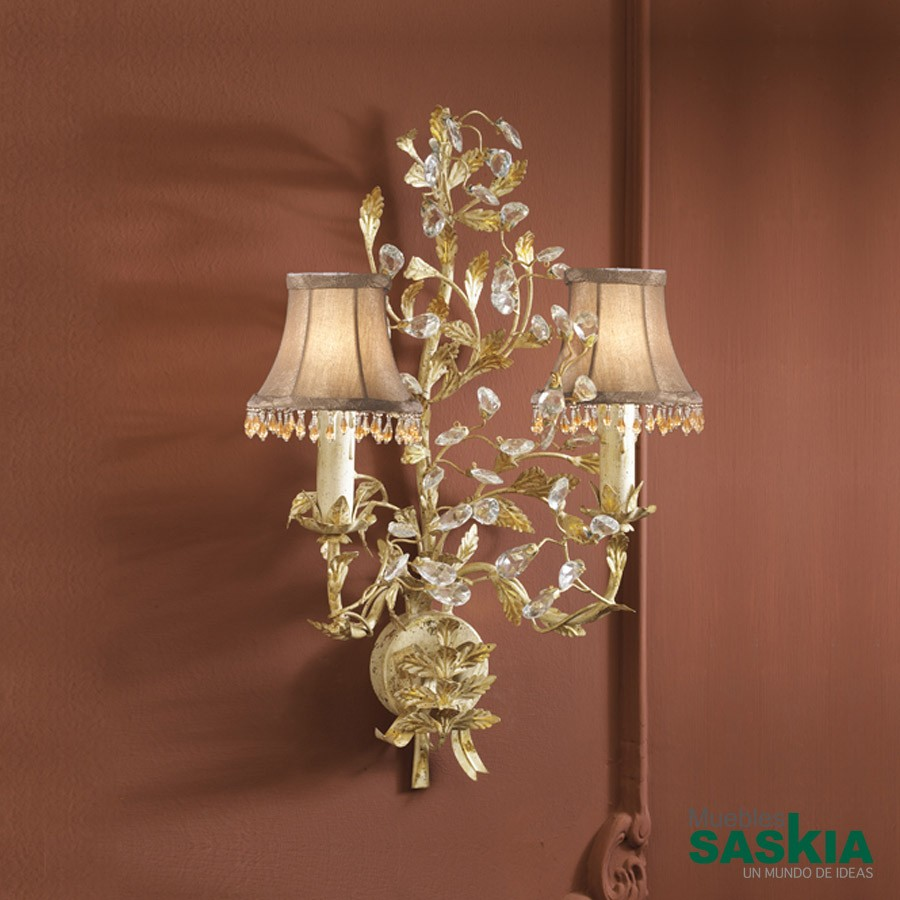 Lámpara de pared verdi 2l. Marfil /oro