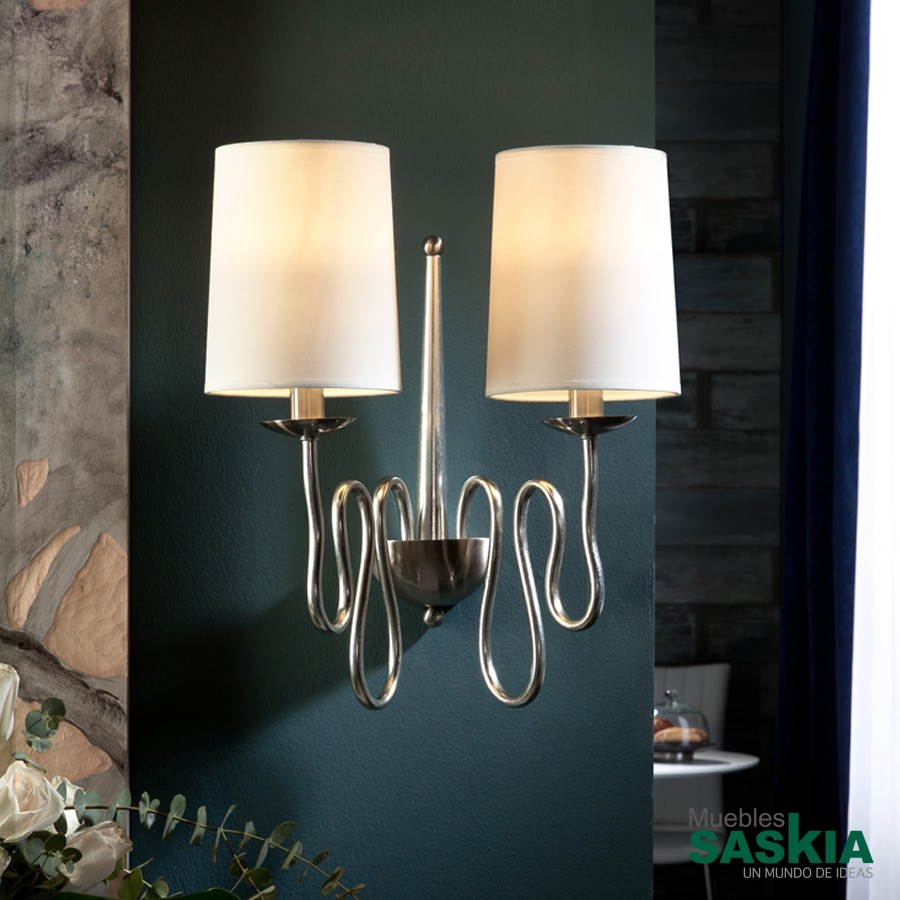 Lámpara de pared briana plata 2l
