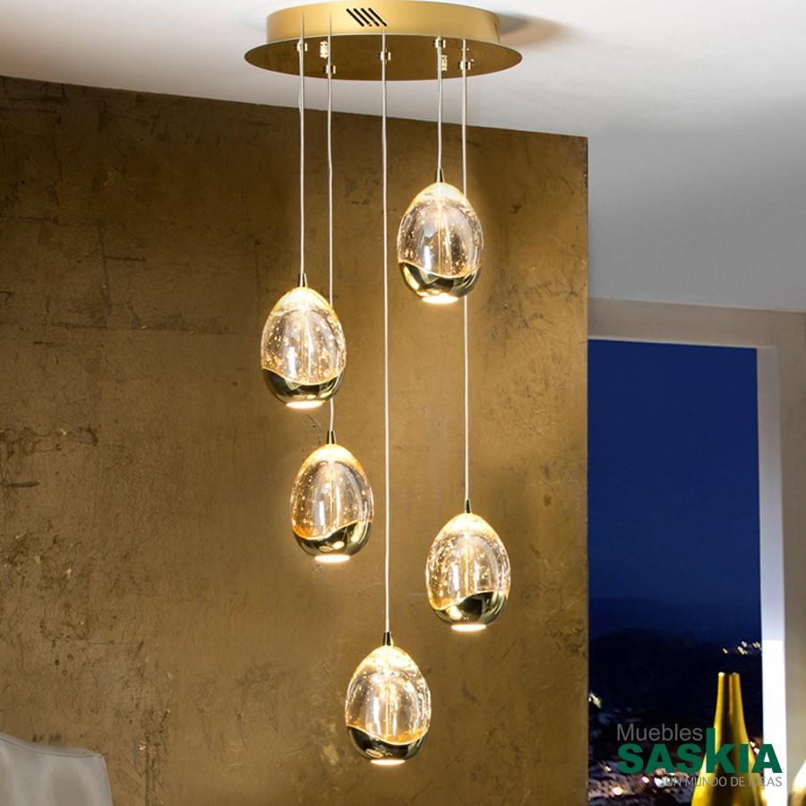Lámpara diámetro 30 rocio 5 led oro