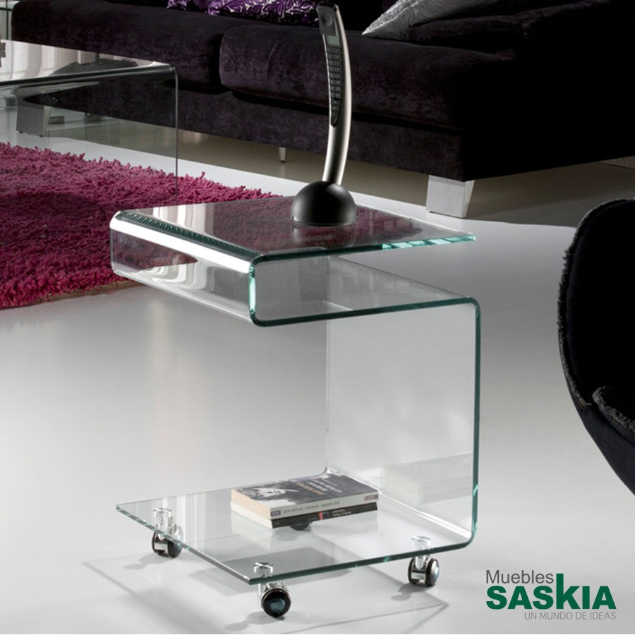 Mesa auxiliar. glass transpte.