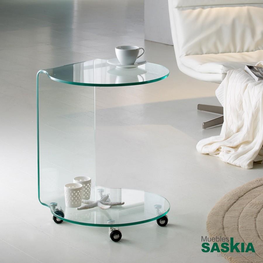 Mesa auxiliar.Glass redonda
