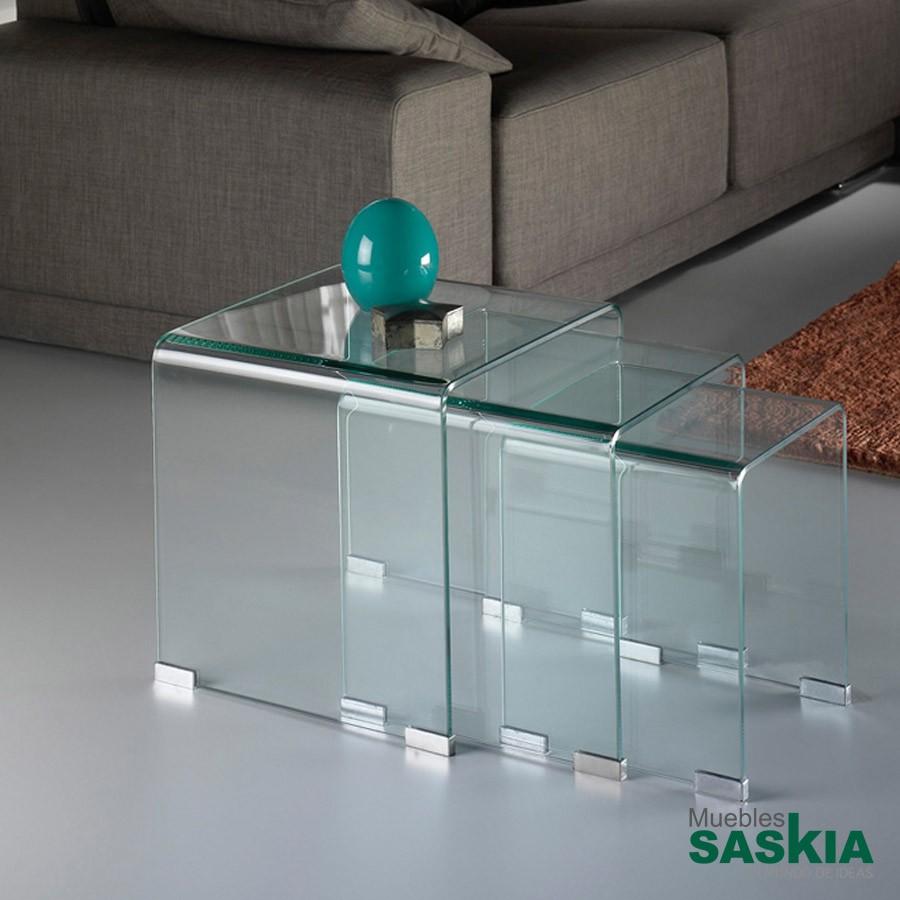 Mesas nido glass transparente.