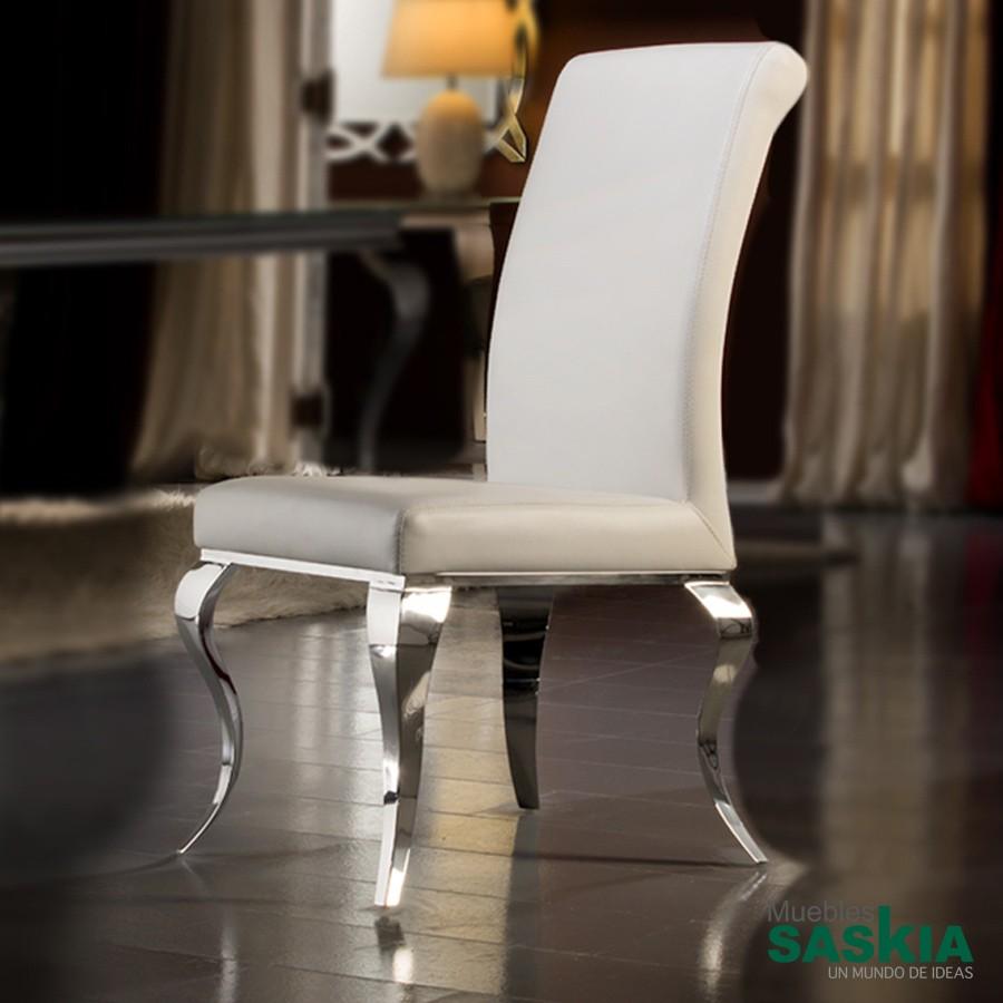 Silla barroque acero blanca 792538 muebles saskia en for Muebles pamplona