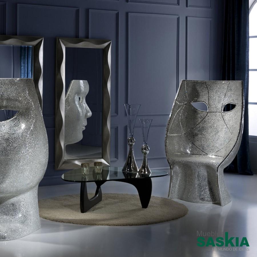 Sillón mascara espejo plata