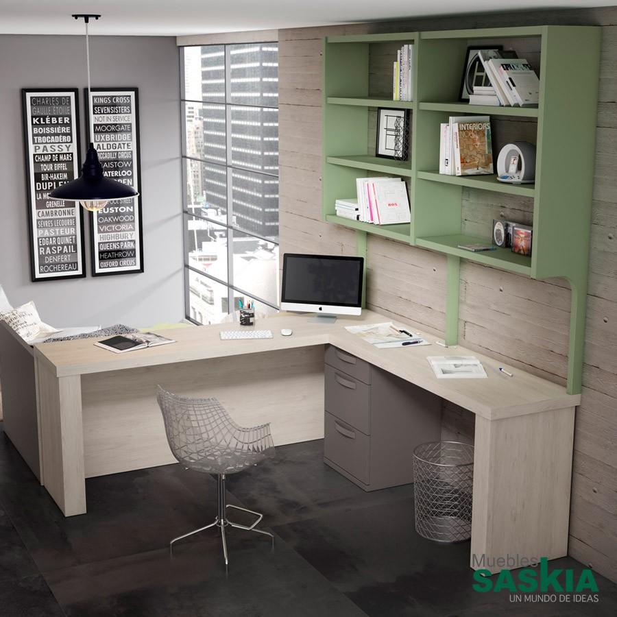Escritorio juvenil moderno lan mobel escritorio cmp 09 for Muebles de escritorio modernos para casa