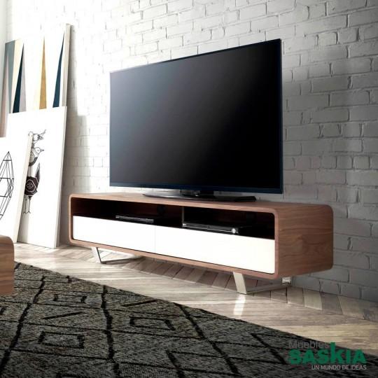 Mueble TV de madera chapada en Nogal con dos cajones lacados y patas de acero inoxidable.
