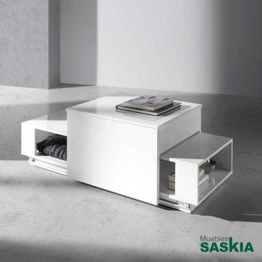 Mesa de centro deslizante de DM lacado con mecanismo de tapa elevable.