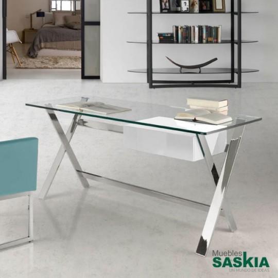 Mesa de oficina con tapa de cristal templado y estructura de acero inoxidable. Cajón de DM lacado.