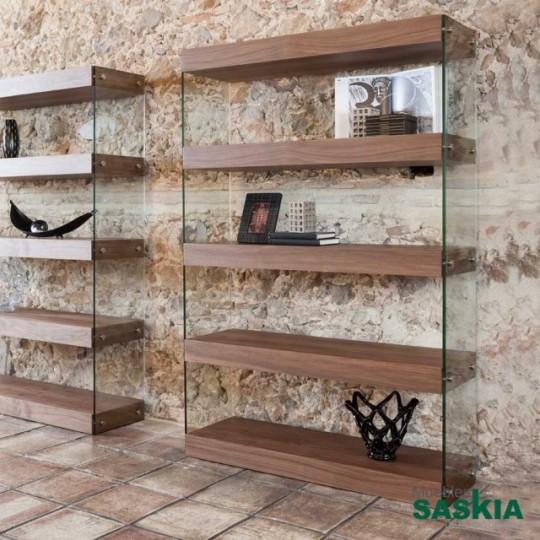 Estanteria de madera chapada en Nogal con laterales de cristal templado.