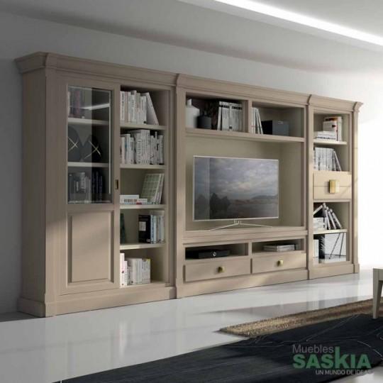 Conjunto de librerías y mueble de tv.