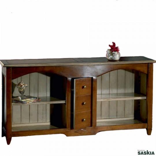 Original librero realizado en madera maciza de tilo y cerezo silvestre. Acabado cerezo silvestre rojo, blanco.