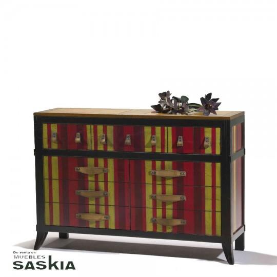 Exquisito mueble de inspiración oriental realizado en madera maciza de tilo y cerezo silvestre. Acabado multi rayas.