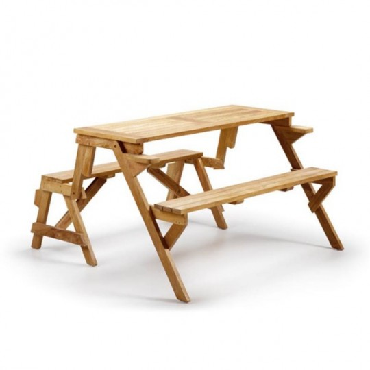 Banco convertible mesa teka 9120 muebles saskia en pamplona for Mesa banco madera jardin