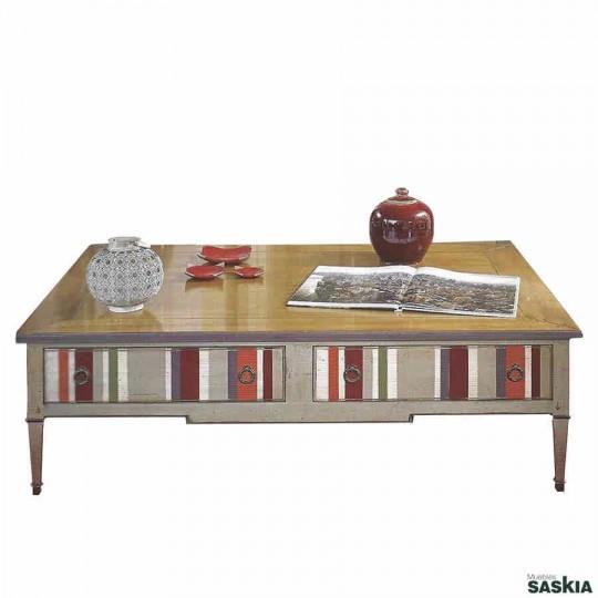 Original mesa de centro realizada en madera maciza de tilo y cerezo silvestre. Acabado multirayas lima, cerezo silvestre.