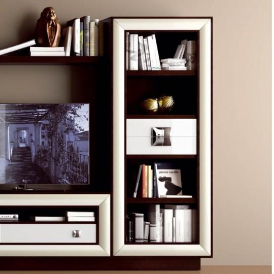 Librería con 2 cajones centrales, realizada en madera de haya.