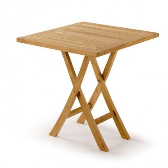 Mesa de rincón realizada en madera de teka.