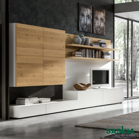 Mueble de sal n moderno blanco madera gs020 muebles for Salon blanco y madera