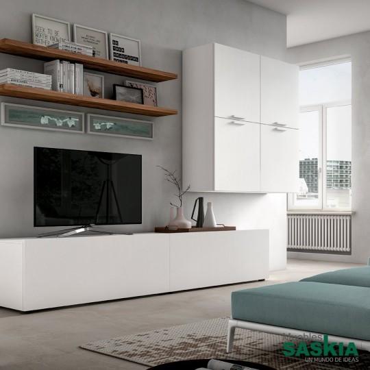 Composición de salón, mueble de tv, estanterías y elementos suspendidos.