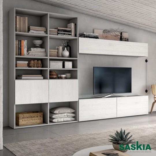 Majestuosa librería con amplios espacios y opciones de almacenaje acompañada de mueble de tv y altillo.